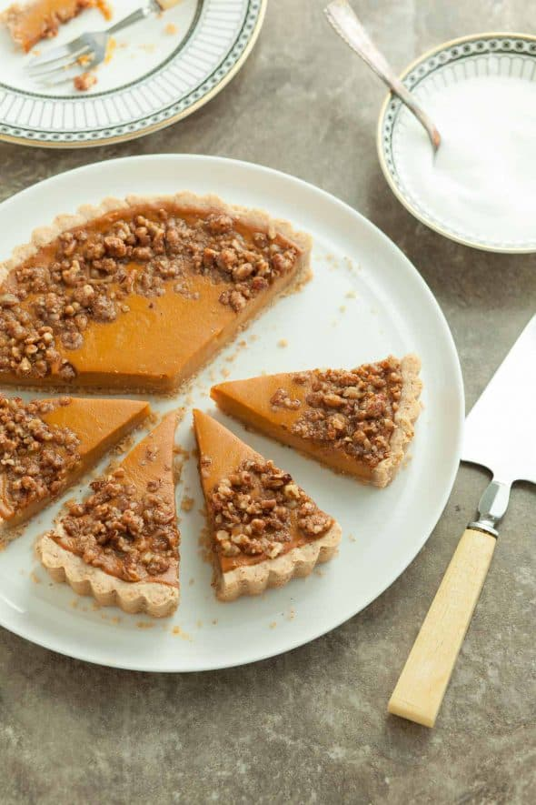 Sweet Potato Tart with Pecan Praline Topping Sliced on Plate