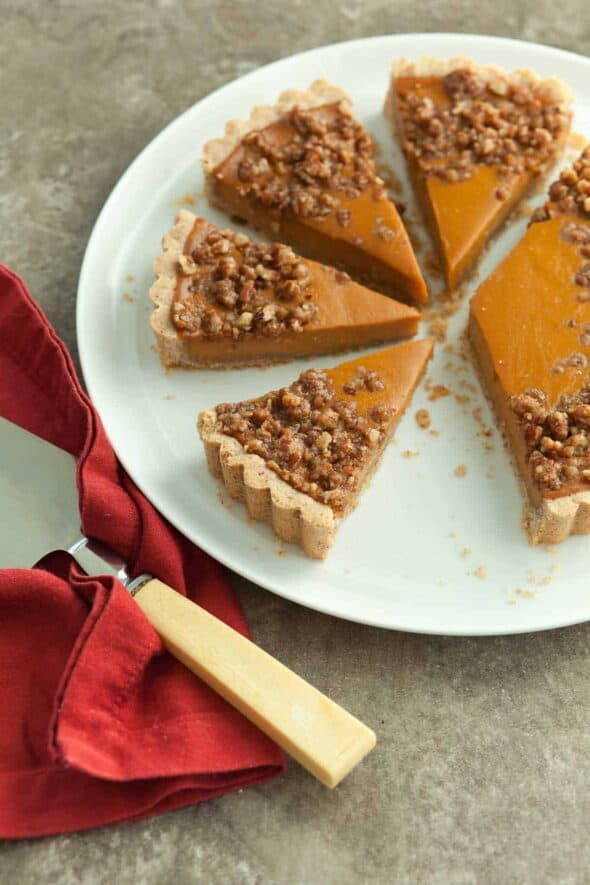 Sweet Potato Tart with Pecan Praline Topping Cut Into Slices