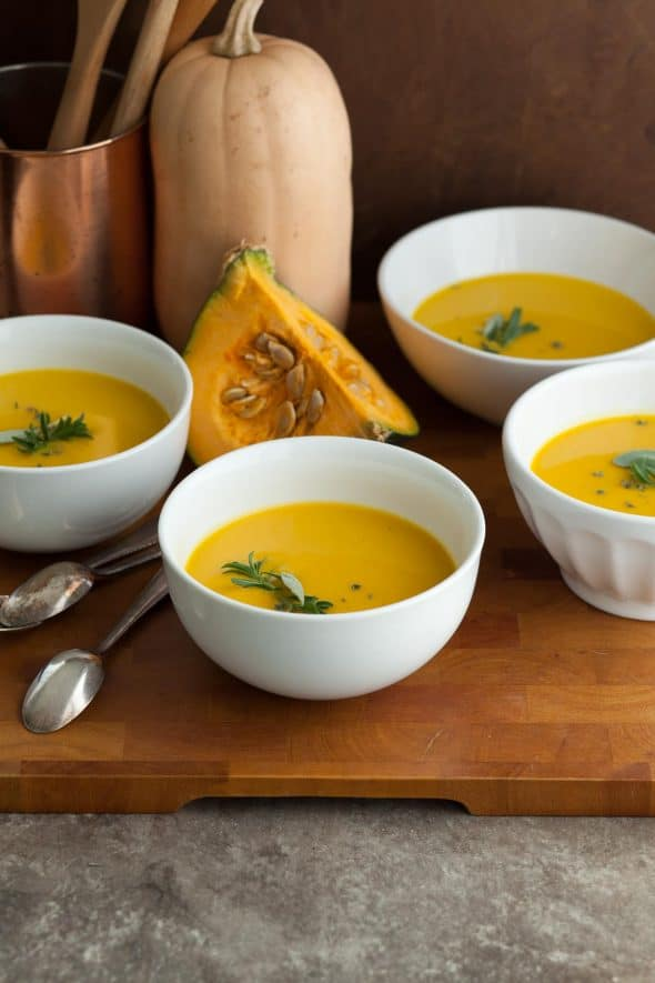 Winter Squash Soup in Bowls with Spoons