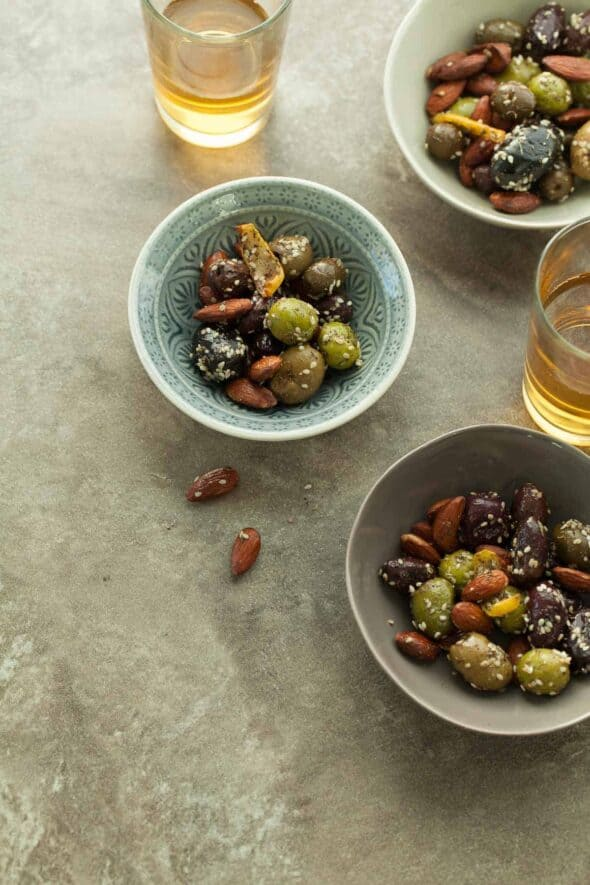 Zaatar Roasted Olives and Almonds in Small Bowls