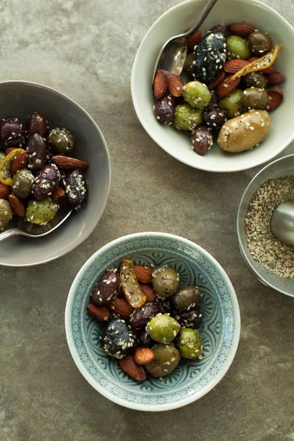 Zaatar Roasted Olives and Almonds in Serving Bowls