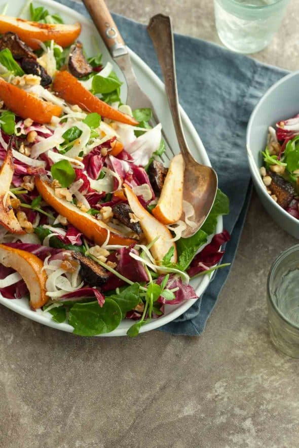 Roasted Pear Radicchio Fennel Salad with Serving Spoon