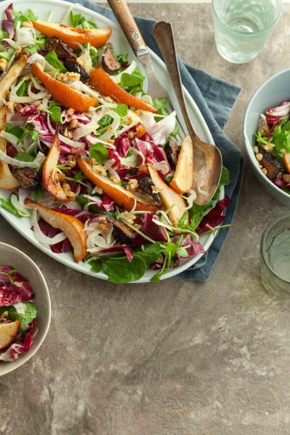 Roasted Pear Salad with Radicchio on Plates