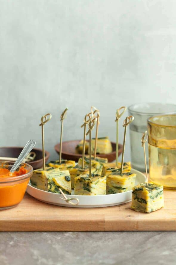 Baked Sweet Potato Spanish Omelette Bites with Toothpicks