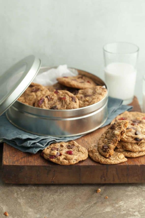 Flourless Trail Mix Cookies in Tin on Wood Board