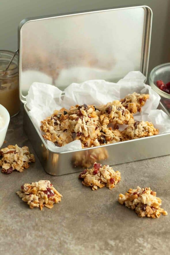 Fruit and Nut Coconut Clusters in Tin Box