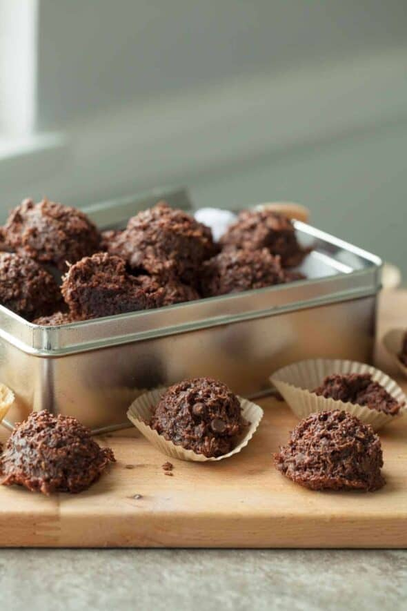 Fudgy Vegan Chocolate Coconut Macaroons in Tin Box
