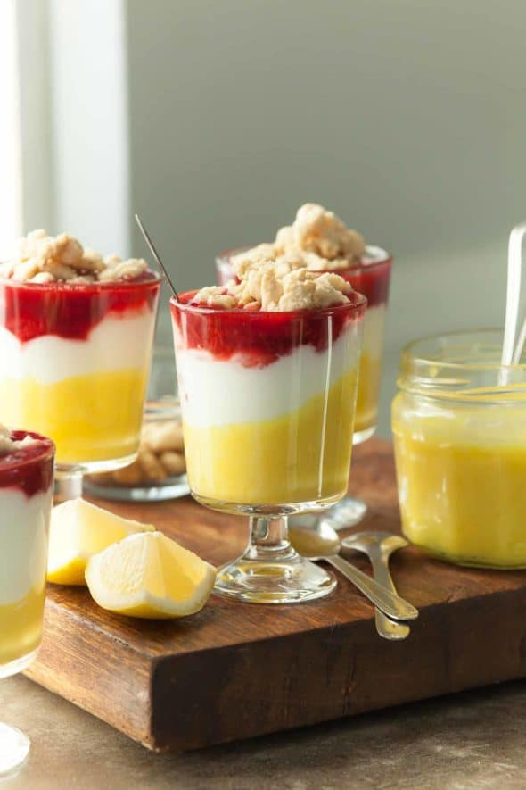 Lemon Berry Yogurt Parfaits with Shortbread Crumble