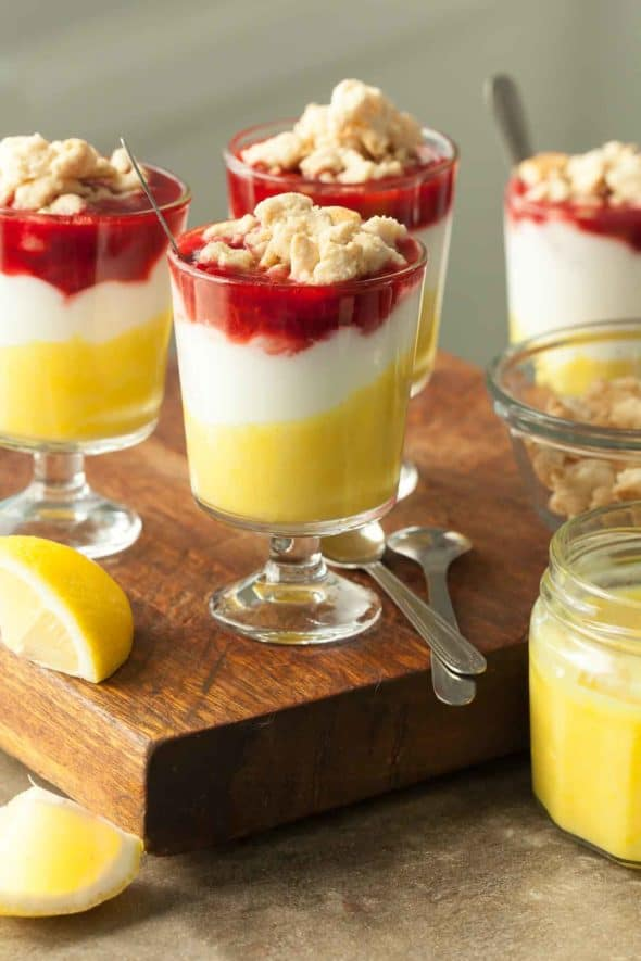 Lemon Berry Yogurt Parfaits in Serving Glasses topped with Shortbread Crumble
