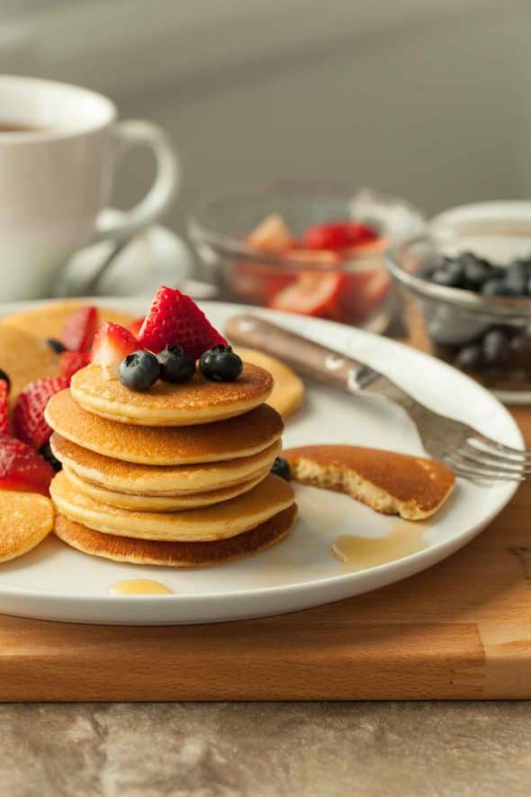 Gluten-Free Silver Dollar Cashew Butter Pancakes on Plate with Fork