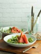 Fennel Arugula and Watermelon Salad with Green Olive Vinaigrette