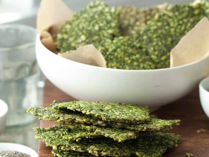 Gluten-Free Pesto Kale Seed Crackers