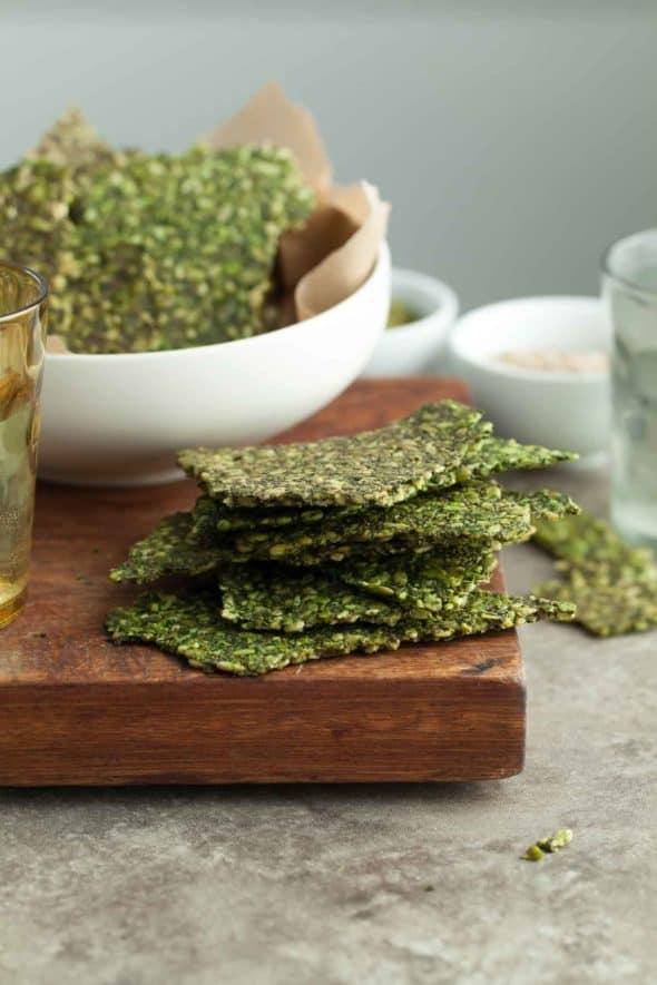 Gluten-Free Pesto Kale Seed Cracker Stack on Board