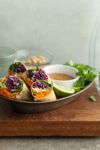 Thai Vegetable Coconut Wraps with Cashew Dipping Sauce (Gluten-Free, Paleo, Vegan)