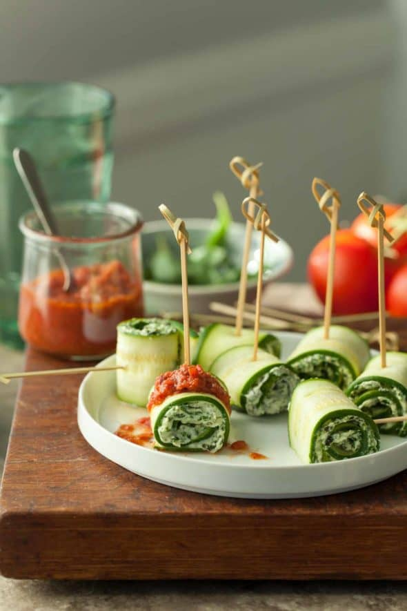 Vegan Zucchini Roll Ups Topped with Raw Marinara Sauce