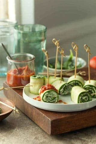 Vegan Zucchini Roll Ups with Raw Marinara Sauce