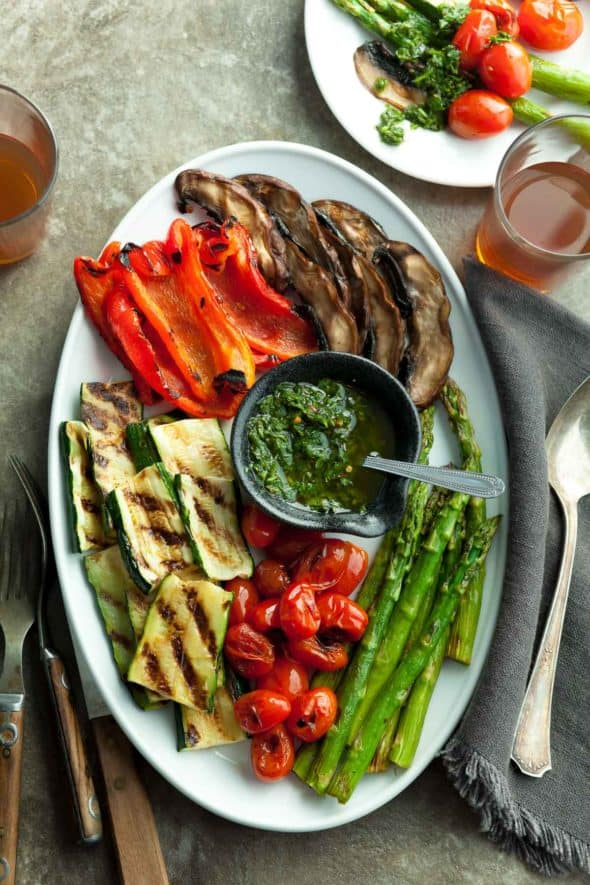 Grilled Summer Vegetables with Basil Chimichurri Sauce on Platter