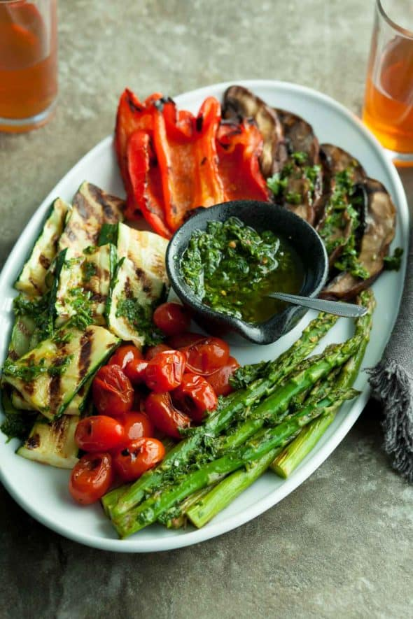 Grilled Summer Vegetables with Basil Chimichurri Sauce and Spoon