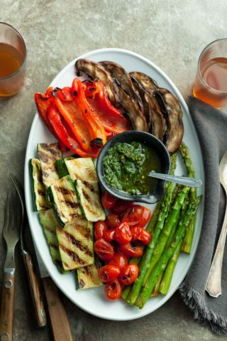 Grilled Summer Vegetables with Basil Chimichurri Sauce