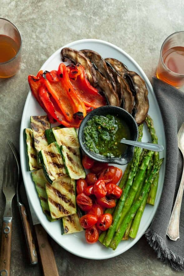 Grilled Summer Vegetables with Basil Chimichurri Sauce Top View
