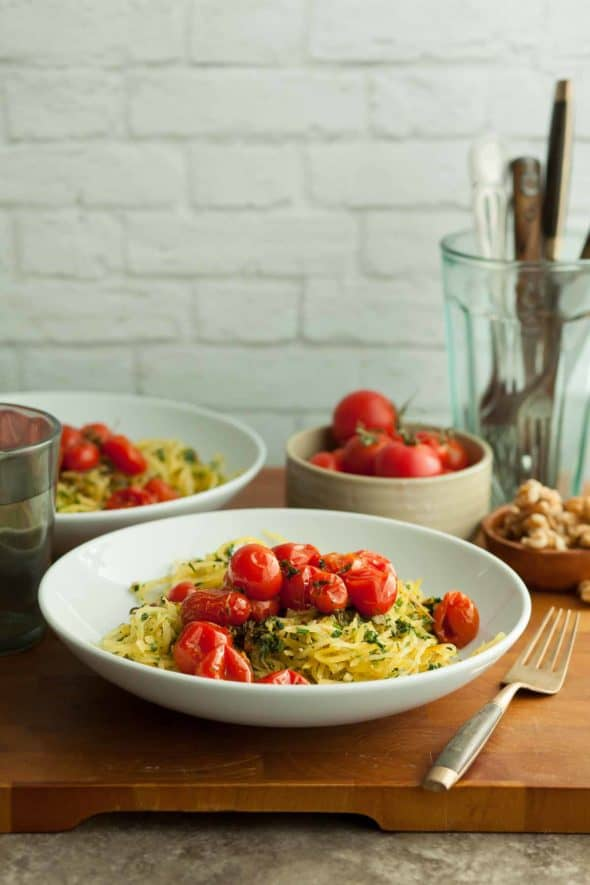 Garlic and Herb Spaghetti Squash in Bowls with Roasted Tomatoes
