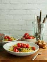 Garlic and Herb Spaghetti Squash with Roasted Tomatoes (Paleo, Vegan)