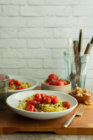 Garlic and Herb Spaghetti Squash with Roasted Tomatoes Recipe