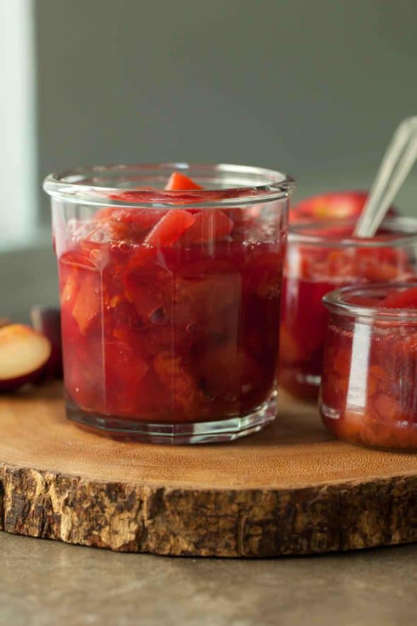 Plum Apple Compote in Jam Jar