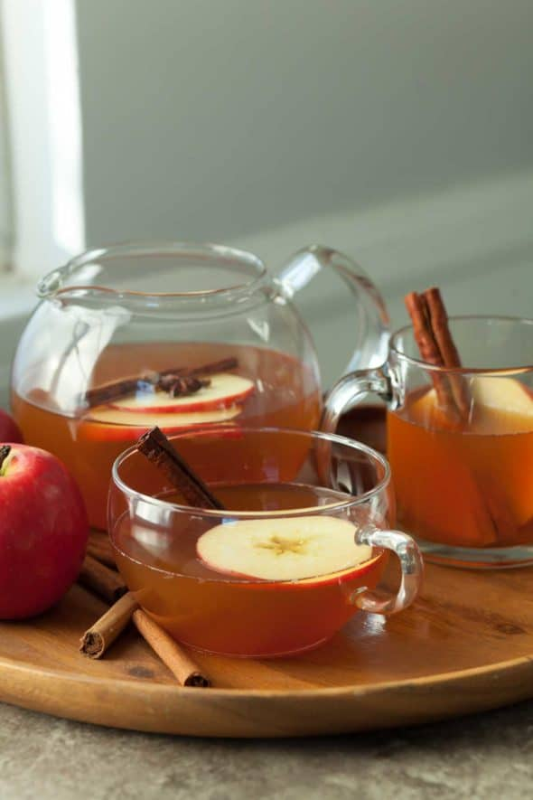 Cinnamon Spice Apple Tea on Serving Tray