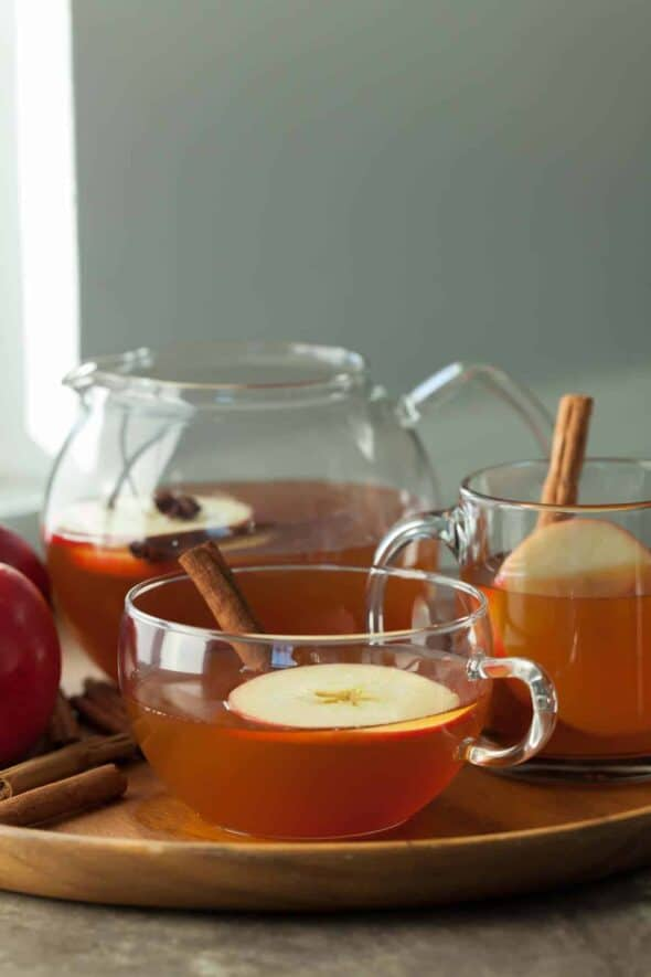Cinnamon Spiced Apple Tea in Glass Cups