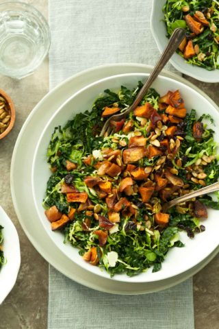 Cinnamon Roasted Sweet Potato, Apple and Kale Salad (Paleo, Vegan)