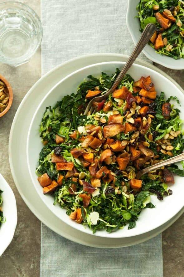 Cinnamon Roasted Sweet Potato Apple and Kale Salad on Plate