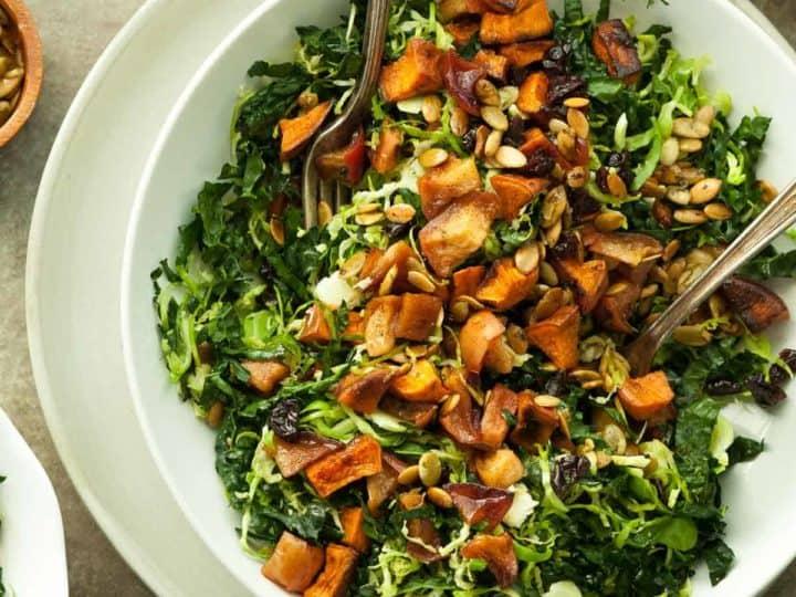 Cinnamon Roasted Sweet Potato Apple and Kale Salad (Paleo)