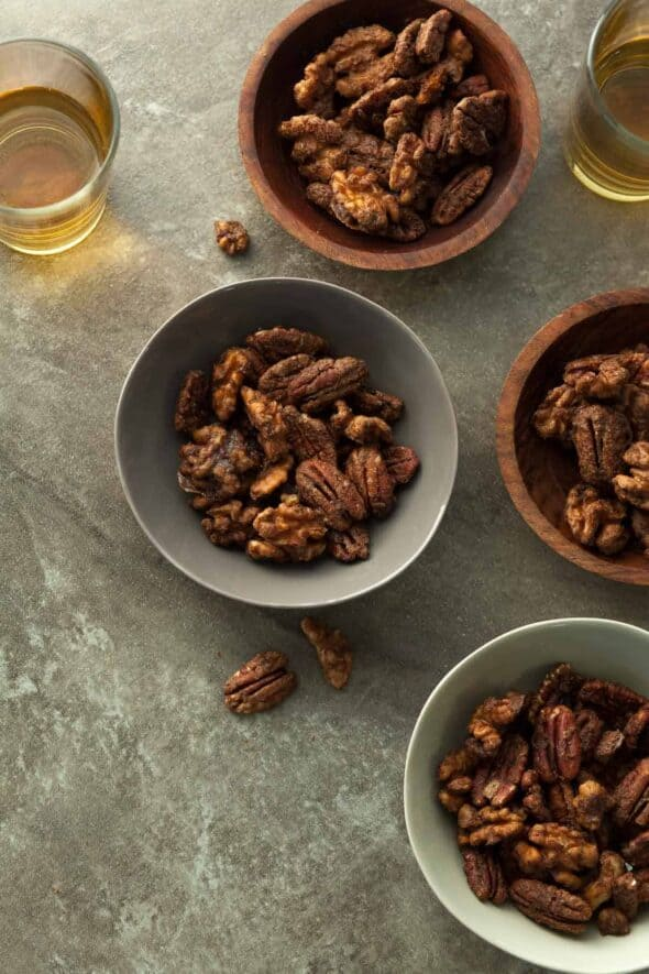 Gingerbread Spiced Nuts in Small Bowls
