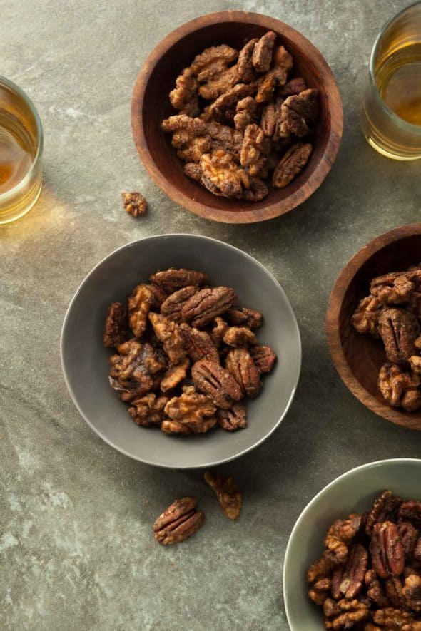 Gingerbread Spiced Nuts in Bowls with Glasses of Wine