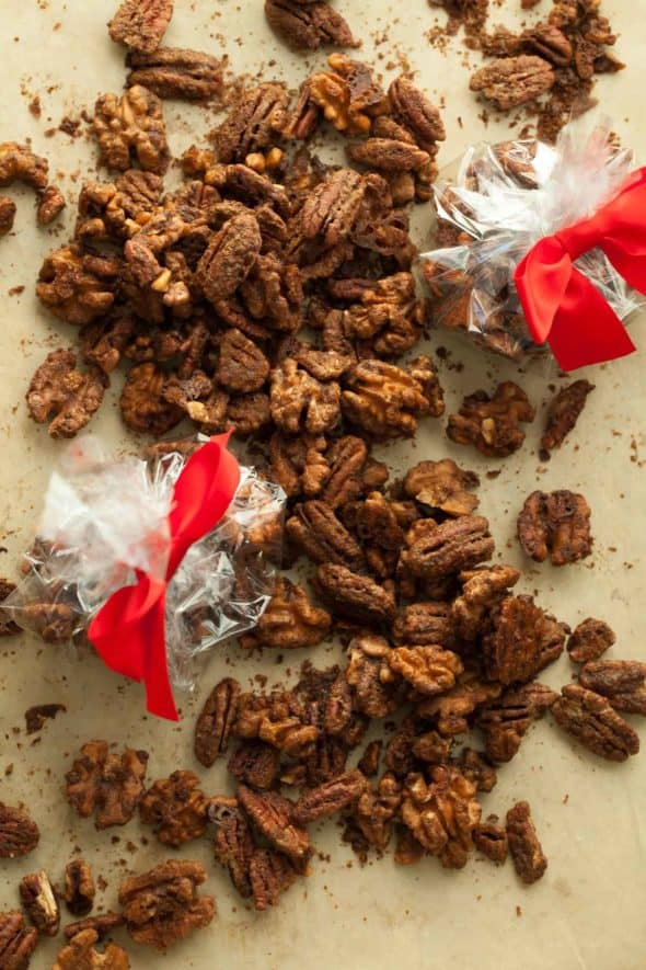 Gingerbread Spiced Nuts on Sheet Pan and in Treat Bags