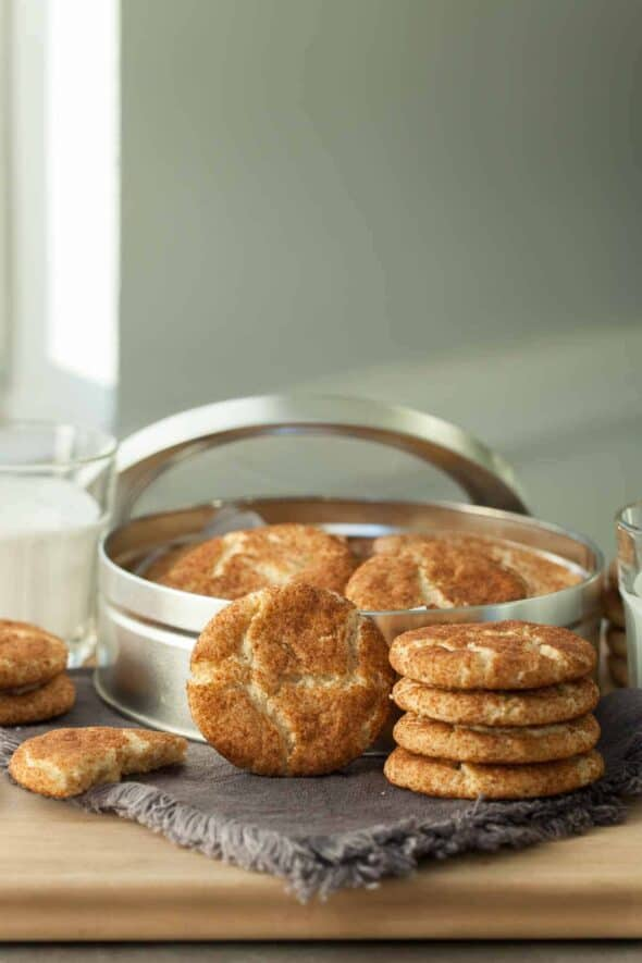 Gluten-Free Snickerdoodles in front of cookie tin