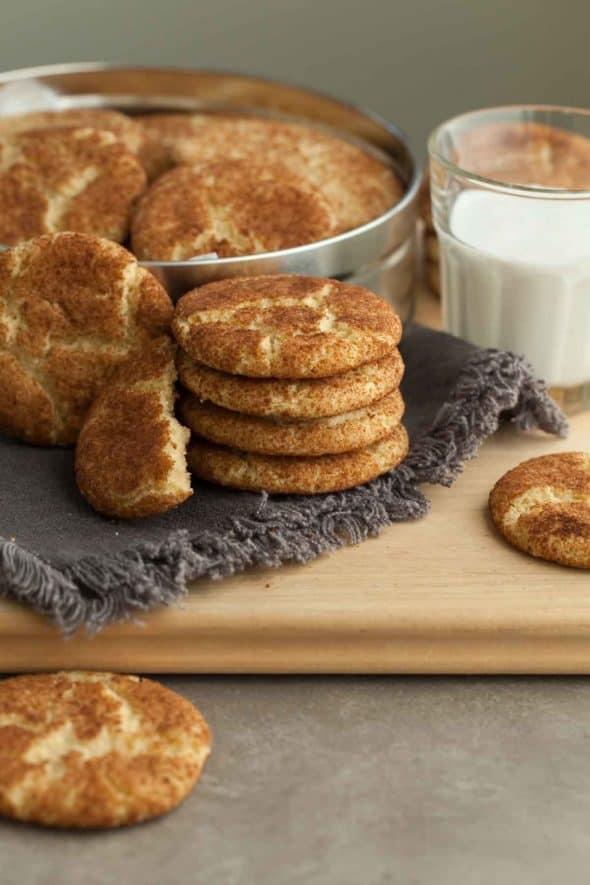 Gluten-Free Snickerdoodles stacked on napkin