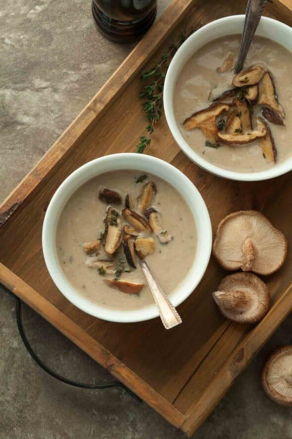 Roasted Mushroom Cauliflower Soup Top View
