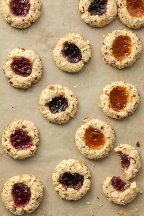 Gluten-Free Jam Thumbprint Cookies on Baking Sheet