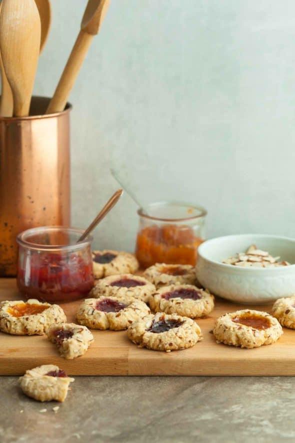 Gluten-Free Jam Thumbprint Cookies on Wood Board