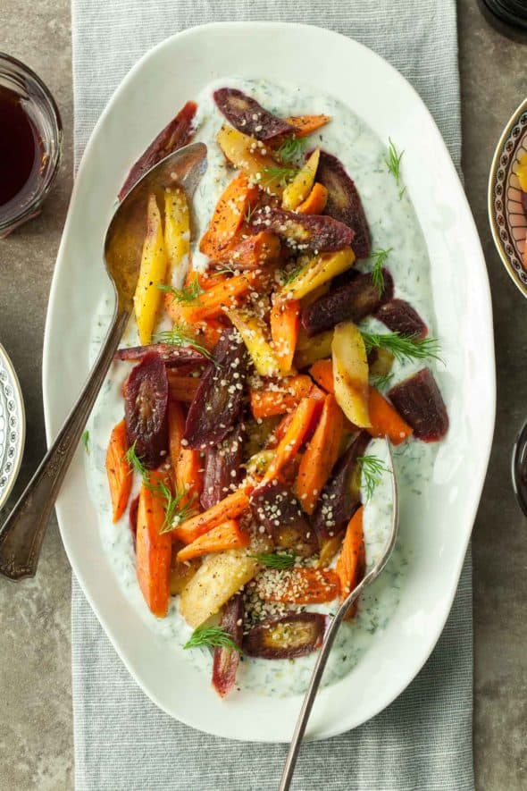 Sumac Roasted Carrots with Herbed Yogurt Top View