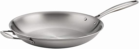 Tramontina Gourmet Stainless Steel Induction-Ready Tri-Ply Clad Fry Pan, 12-Inch w/Helper Handle