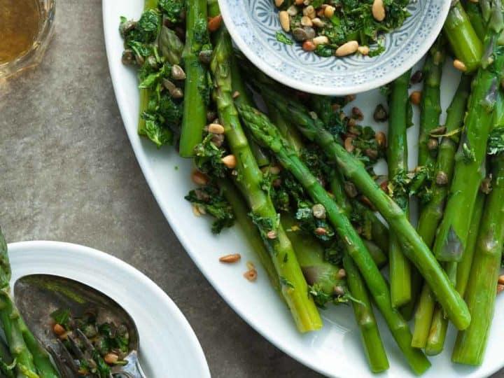 Asparagus with Caper Pine Nut Gremolata (Paleo, Vegan)