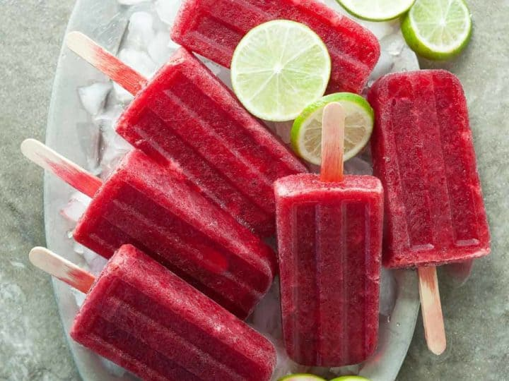 Chery Lime Probiotic Popsicles