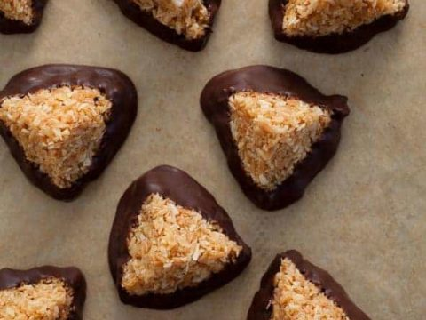 Chocolate Dipped Caramel Coconut Haystacks