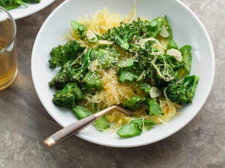 Garlic Ginger Broccolini with Spaghetti Squash