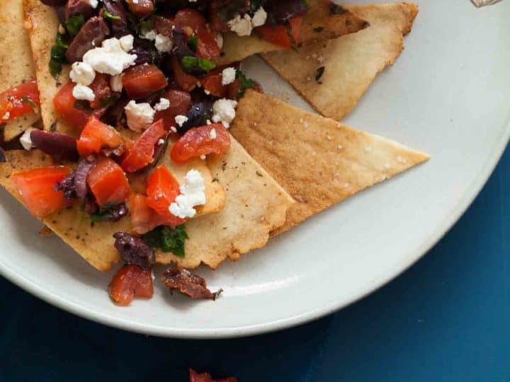 Grain-Free Pita Chips with Mediterranean Style Salsa