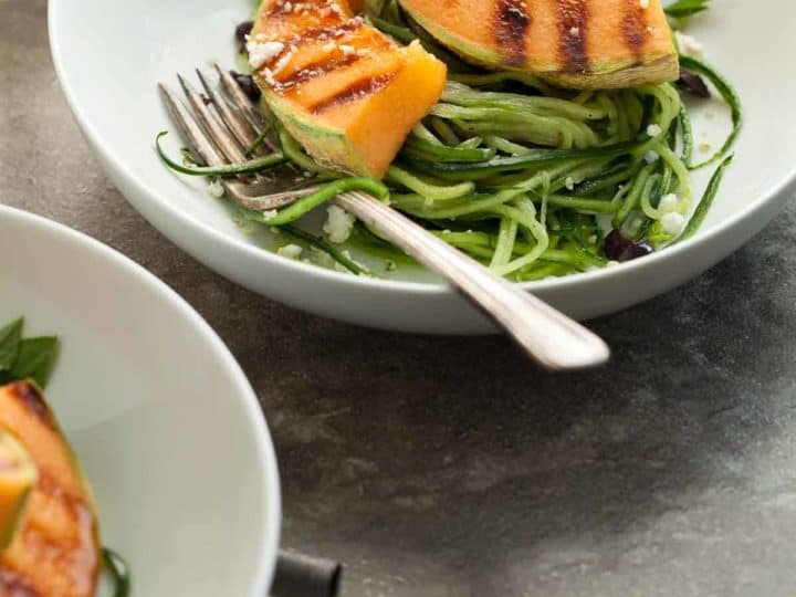 Grilled Melon Salad with Cucumber Noodles