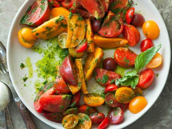 Heirloom Tomato Salad with Basil Parsley Oil